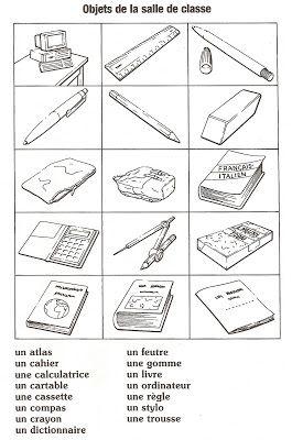 Français Langue Étrangère - A1: fournitures scolaires