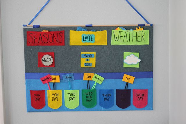 DIY Felt Calendar- fun for little kids learning about the days of the week and the weather!
