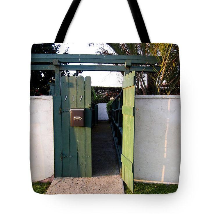 """717 Gate Open Coronado California"" Tote Bag by Sharon French (18"" x 18"").  The tote bag is machine washable, available in three different sizes, and includes a black strap for easy carrying on your shoulder.  All totes are available for worldwide shipping and include a money-back guarantee."