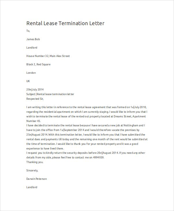 editable rental lease termination letter sample examples word pdf - rental lease