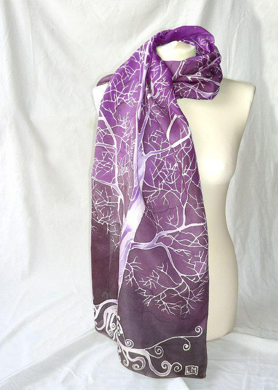 Violet scarf 'Violet sky White Trees' - purple scarves - hand painted silk scarf - Habotai silk - Christmas gift