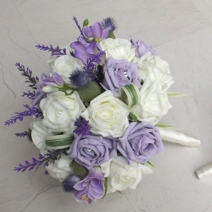 Artificial Wedding Bouquets - Thistle & Lilac Foam Rose Brides Bouquet - Posie - Artificial Bouquets