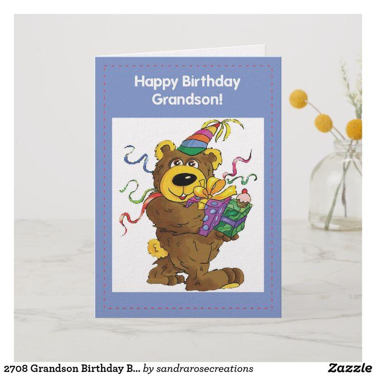 2708 Grandson Birthday Bear Card Bear card