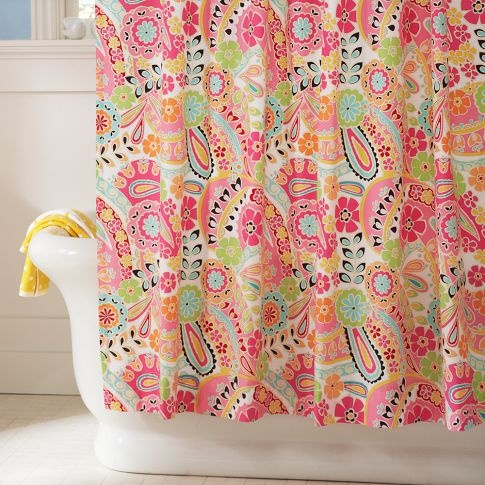 $49.50 at PB teen Paisley Pop Shower Curtain (Dark Pink) ... I like this for curtains in the bedroom but $50 per panel..in a toddler room..no, no, NO. Will have to find a DIY..