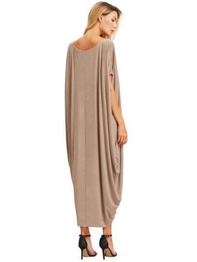 Света Хаки одно плечо Dolman рукава платья макси