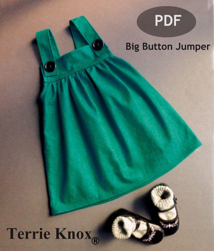 Valentines Day,kids,Pattern sewing children,handmade,girls pinafore,jumper pattern,Big Button Jumper. $6.95, via Etsy.