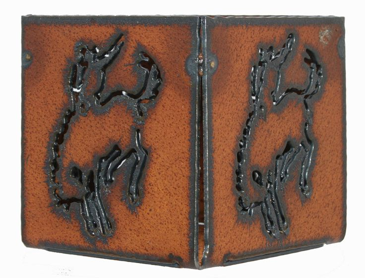 """Western Home Decor 3"""" candle holder Rustic Metal Cowboy Rodeo Bronco Horse Candle"""
