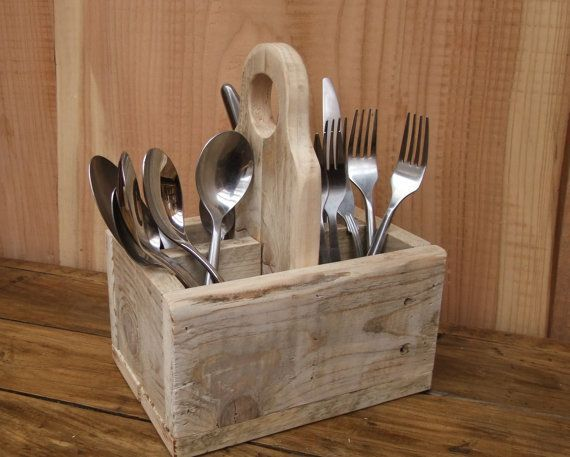 Rustic Cutlery Caddy / Holder Reclaimed Wood by NewPurposeDesign