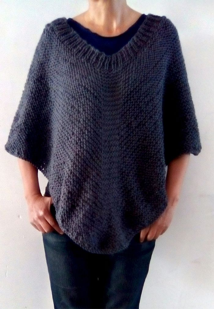 Free Knitting Pattern for Easy Moonlight Poncho - Easy poncho knit in in the round with a ribbed neckline, no seams and no picking up stitches. Worsted yarn. Designed byMax Huerta