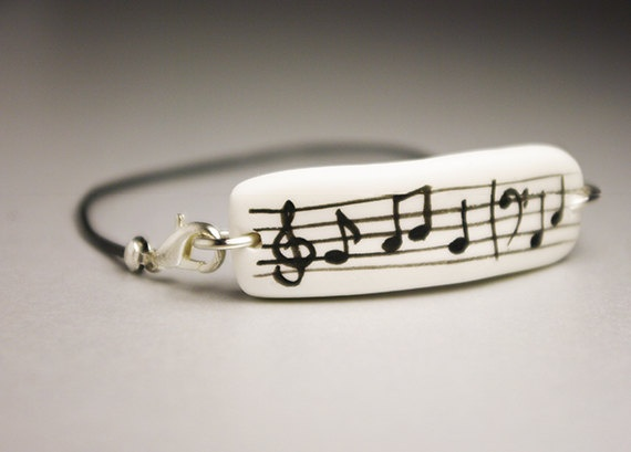 Music, Musician Jewelry, Cold Porcelain Bracelet, Gift Idea, Minimalism Style, Unique, Unisex Hipster Urban Jewelry via Etsy.