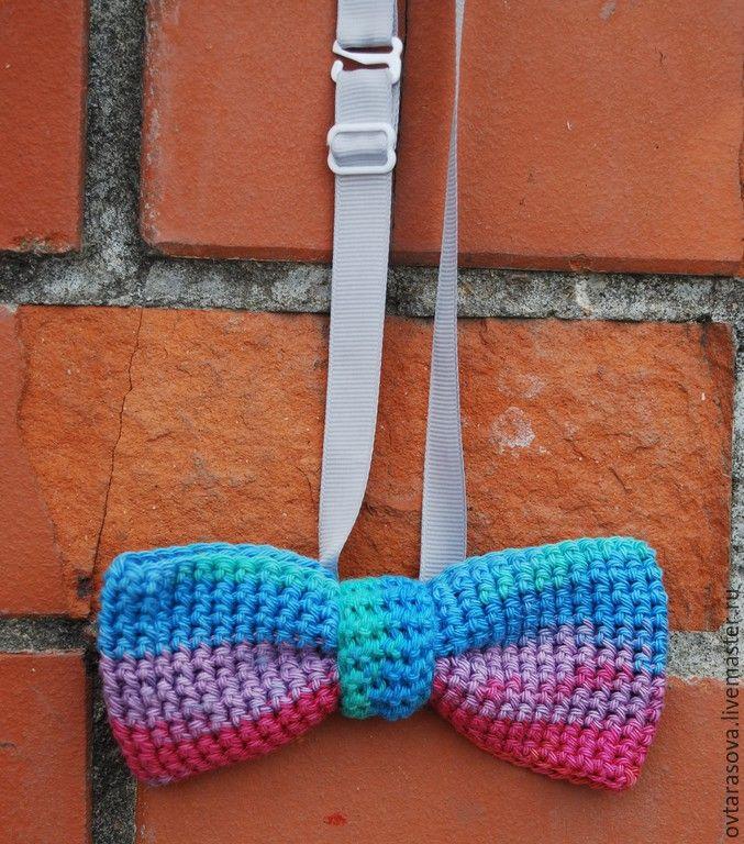 """Купить Галстук-бабочка вязаный """"Цветной"""" - разноцветный, бабочка на шею, бабочка-галстук"""