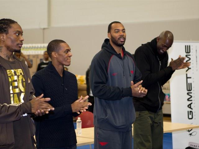 Marquis Daniels, Rajon Rondo, Chris Wilcox, and Kevin Garnett at The BIG Assist