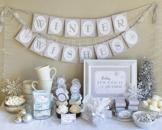 Winter Party Printable Set: Baby Shower, Bridal Shower, Birthday, Holiday - Snowflake Party Kit Downloads - Banner, Cupcake Toppers, Invite