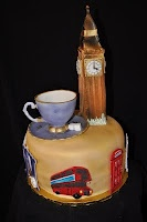 London cake with the Big Ben and a nice teacup