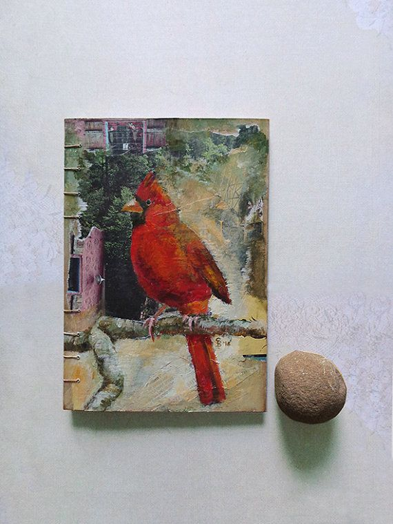 Red cardinal journal notebook sketch book with coptic stitch.