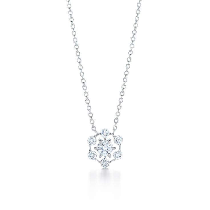 Diamond pendant in 18k white gold. Also available with fancy color diamonds in 18k rose gold.