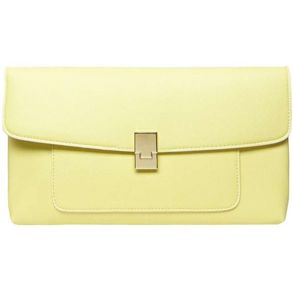Lemon Pocket Front Clutch Bag (450 RUB) ❤ liked on Polyvore featuring bags, handbags, clutches, beige clutches, dorothy perkins, lemon handbag, lemon purse and beige handbags