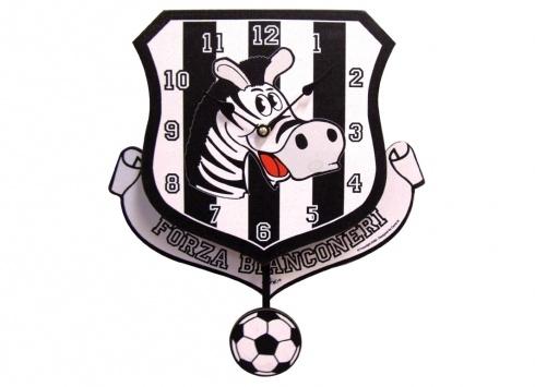 TIF8 OROLOGIO MURO CANVAS BIANCO/NERI  Orologio da parete in legno con pendolo-color bianco nero-disegno della zebra Forza Bianconeri