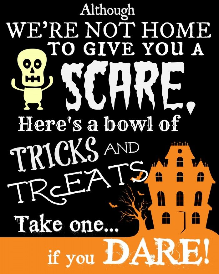 Halloween We're Not Home Poem - Free Printable Sign to put outside with your Candy bowl.