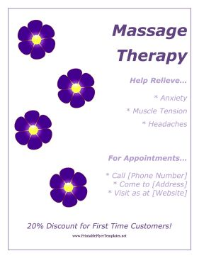 25 best massage flyer images on pinterest massage business purple flowers decorate this free printable flyer that advertises massage services free to download saigontimesfo