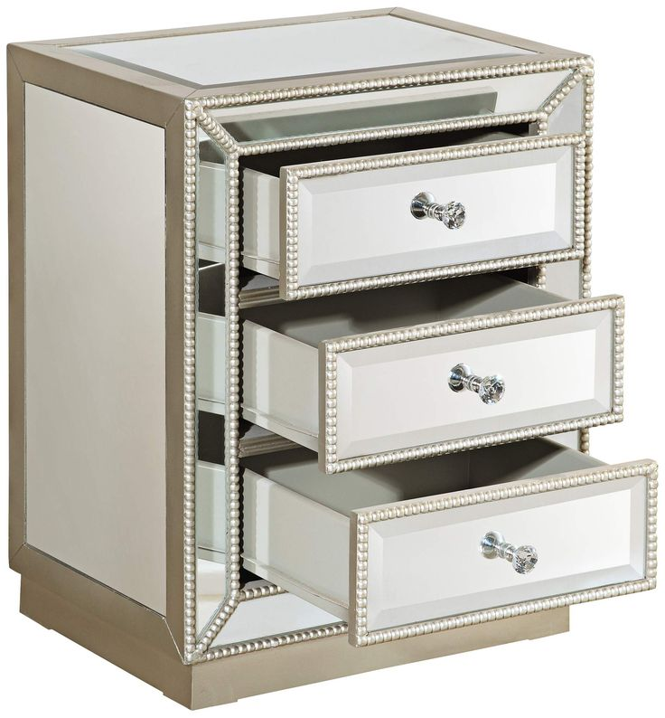 Trevi 3-Drawer Mirrored Accent Table - #8K074 | www.lampsplus.com