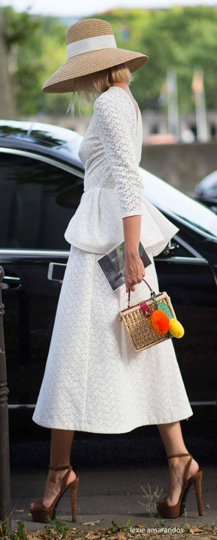 Love the lace...the peplum...the skirt length...the sleeve length...the high heels...