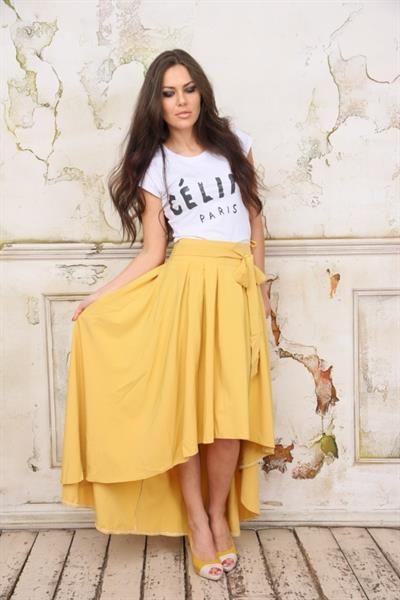 Горчичная длинная юбка