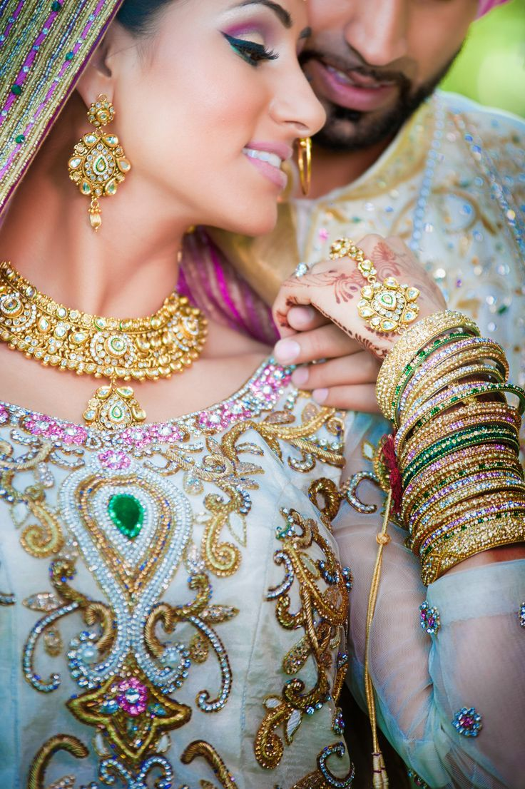 Ooh rainbow! Looks very fairytale-like <3  http://weddingstoryz.blogspot.in/ Indian Weddings Desi Weddings Bride makeup jewelry lehenga groom Punjabi Wedding wedding
