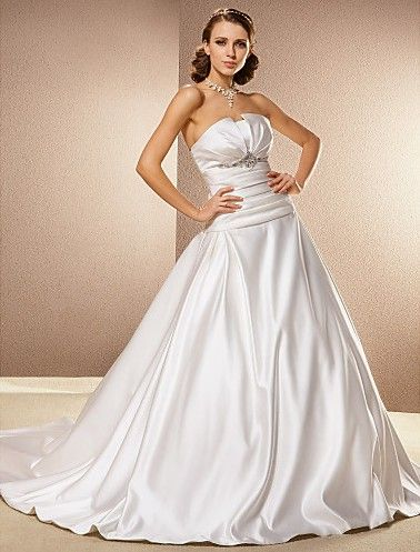 Directsale A Line Strapless Cathedral Train Satin Wedding Dress Free Measurement