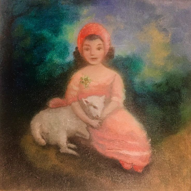 My tribute to Gainsborough's Isabella Franks with her little lamb #painting #oils #Gainsborough for a charity function