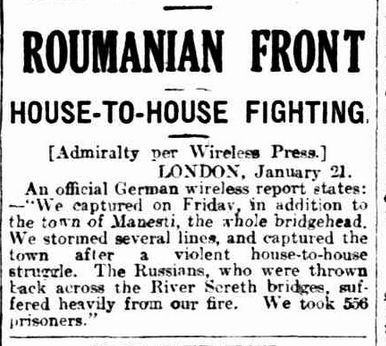 """WWI, 23 Jan 1917; """"An official German report states the capture of Manesti"""" - The Advertiser, Adelaide"""
