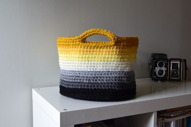 """Crochet in Color: Ombre Basket Pattern: I just finished this basket and it came out awesome! I used an """"M"""" crochet hook and 6 1/2 skeins of Loops and Threads Opus yarn from Michael's. Finished in an evening."""