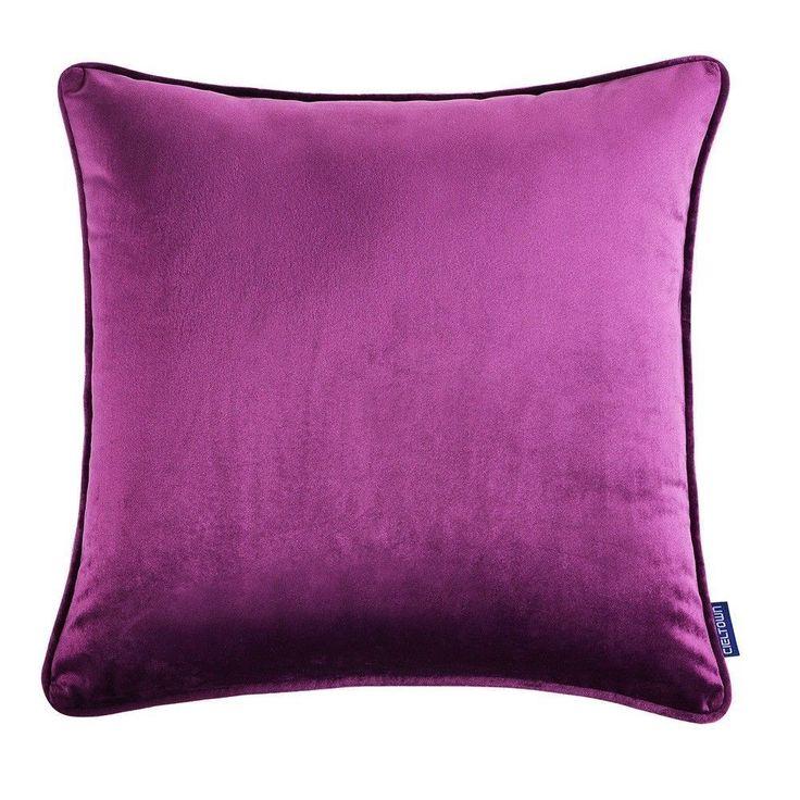 1Pc Purple Cushion Cover Throw Pillow Case Velvet Home Sofa Decoration 18''X18''