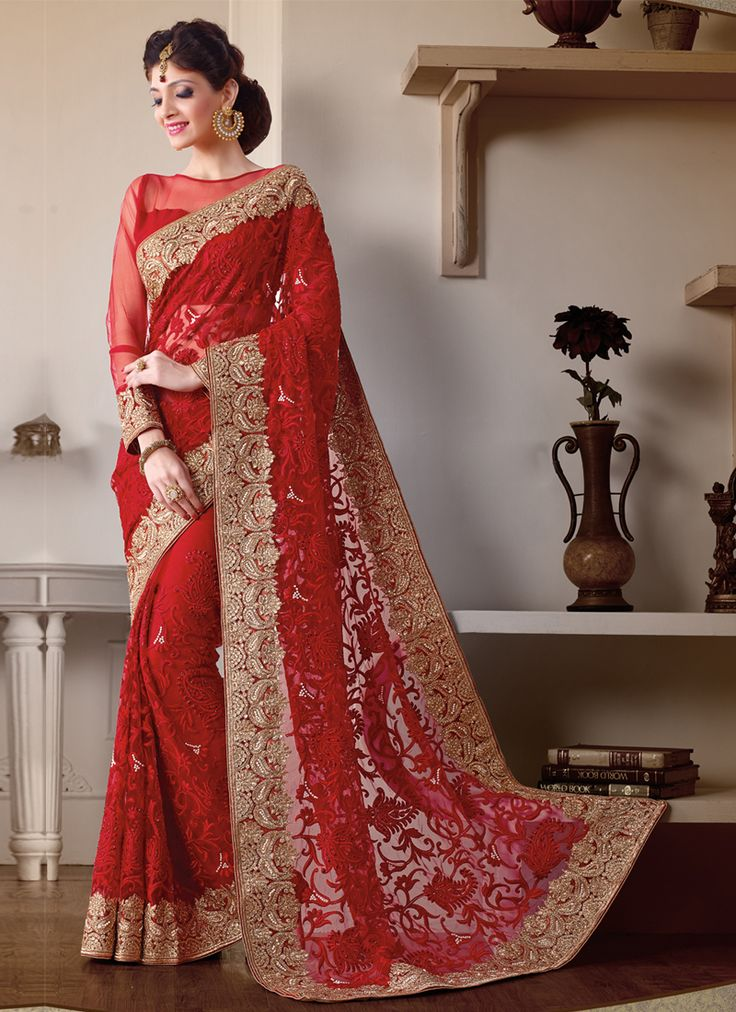 Red Wedding Wear Indian Border Work #Sarees Online #Shopping Visit: http://www.indiansareestore.in/sarees/party-wear-sarees