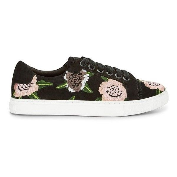 Rebecca Minkoff Bleecker Floral Embroidery Sneaker found on Polyvore featuring shoes, sneakers, black, lace up, kohl shoes, suede sneakers, lace up sneakers, rebecca minkoff sneakers and black trainers