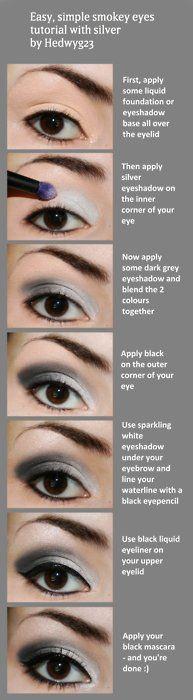 Smokey Eyes with Silver: Make Up Tutorial, Simple Smokey Eye, Smoky Eye, Smokey Eye Tutorials, Eye Make Up, Eyeshadows, Eyemakeup, Silver Smokey Eye, Eye Makeup Tutorials