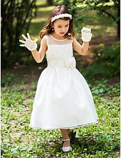 A-line Scoop Tea-length Silk Flower Girl Dress With Ribbons