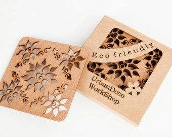 "Set of 2 wooden cup coaster ""magic flower"",wood,drink coaster,laser cut,birch wood,dark wood,wedding gift,gift idea,cup pad,drinks mats"