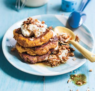 These flapjacks make for a yummy family breakfast treat. They're also good for using up leftover cooked pumpkin from the night before. The recipe works wonderfully well in a waffle maker too, so if you have one give it a go.