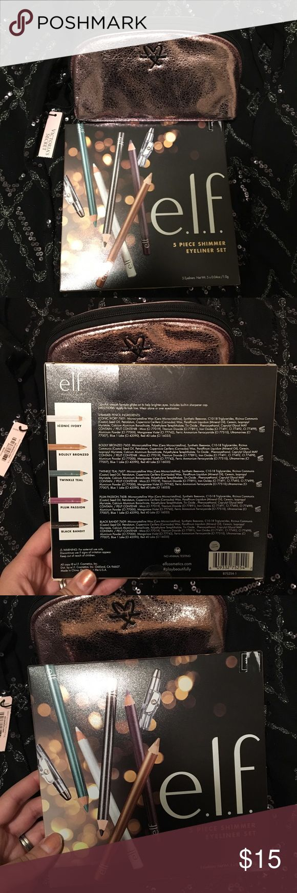 Victoria Secret beauty bag & elf eyeliner set 2 items - buy as a set  Brand new Metallic crackle on- the-go beauty bag in pink by Victoria secret and e.l.f. 5 piece shimmer eyeliner set. Eyeliner set comes with the following colors; iconic ivory, boldly bronzed, twinkle teal, plum passion and black bandit.   Both new items never opened or used. Victoria's Secret Makeup Eyeliner