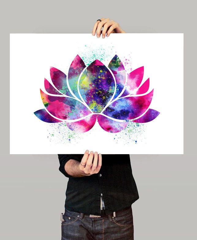 Lotus Flower Art oeuvre de Yoga décor fleur de par FineArtCenter