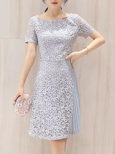 Round Neck Patchwork Plain Lace Skater Dress
