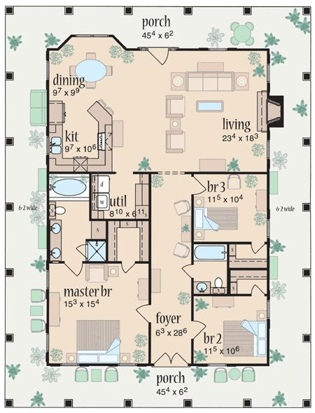 plan 8462jh marvelous wrap around porch house floor plansone level - One Level House Plans