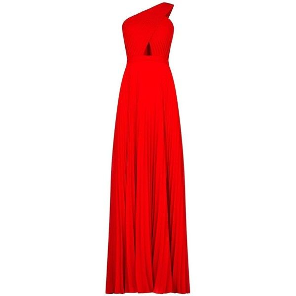 Bcbg Maxazria Gwendolyn One Shoulder Pleated Gown ($240) ❤ liked on Polyvore featuring dresses, gowns, red one shoulder dress, bcbgmaxazria gown, red floor length gown, red fitted dress and red floor length dress