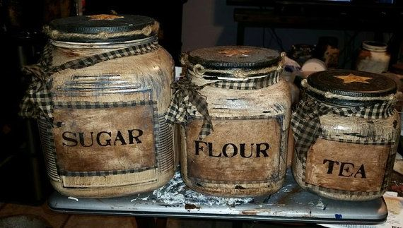 3 piece Primitive Canister Set by KraftyJars on Etsy