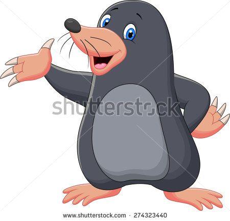 Cartoon cute mole - stock vector