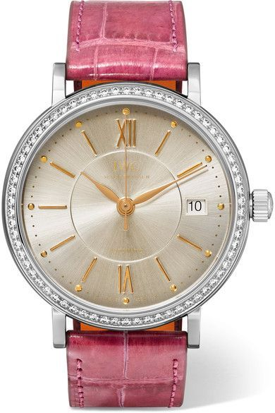 Shop Portofino Automatic 37 alligator, stainless steel and diamond watch