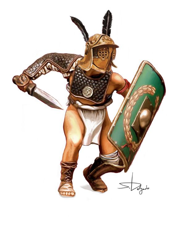 A Provocator gladiator in a fighting stance, ready to sab his short version of a gladius into an opponent.