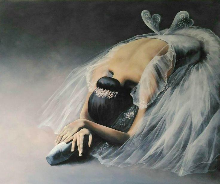 Ballerina painting by Agata Mikulska-Sienkiewicz, acryl on canvas, 100x120 cm