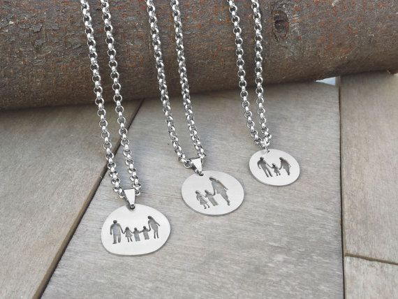 Family Necklace, Family Jewelry, Stainless Steel, Mother, Daughter, Son, Father, Kids, Parents, Couple, Silhouette - Handmade